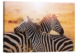 Canvas print  Zebra with its foal, Kenya