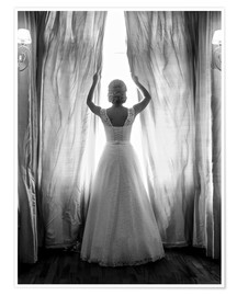 Premium poster Elegant bride at big window
