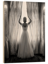 Wood print  Elegant bride at big window
