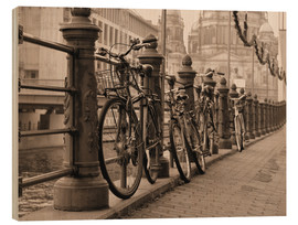 Wood print  Bicycles on a promenade