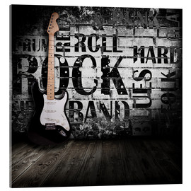 Acrylic print  Electric guitar against a wall