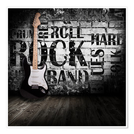 Poster  Electric guitar against a wall