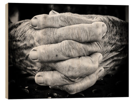 Wood print  Hands of an old man