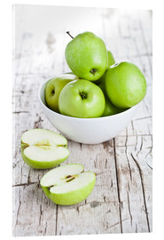 Acrylic print  Green apples in a bowl