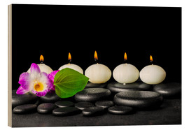 Wood print  spa still life with candles