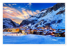 Premium poster Val d'Isere at sunset