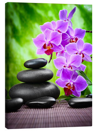 Canvas print  Zen basalt stones and orchid