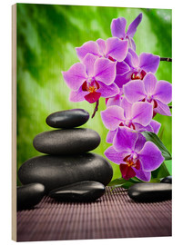 Wood  Zen basalt stones and orchid