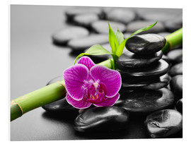 Foam board print  Basalt stones, bamboo and orchid