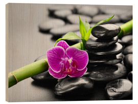 Wood  Basalt stones, bamboo and orchid