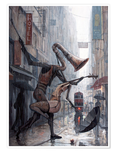 Premium poster Life is a dance in the rain