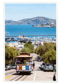 Premium poster  Tram with Alcatraz island in the background, San Francisco, USA - Matteo Colombo