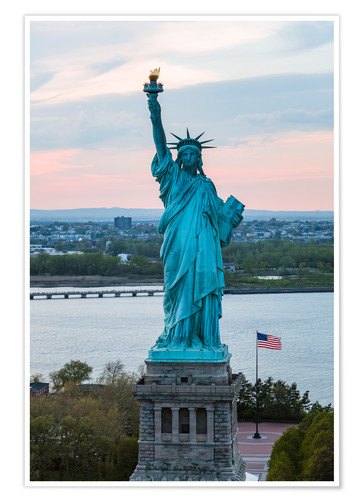 Premium poster Aerial view of the Statue of Liberty at sunset, New York city, USA