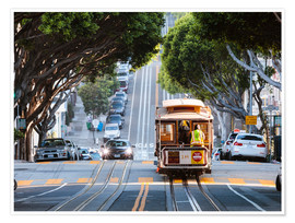 Premium poster Cable tram in a street of San Francisco, California, USA