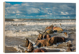 Wood print  Baltic Sea coast on a stormy day - Rico Ködder