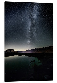 Acrylic print  Nightscape from Muottas Muragl with small pond  Engadin, Switzerland - Peter Wey