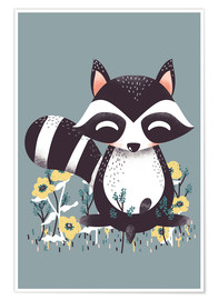 Premium poster  Animal friends - The raccoon - Kanzilue