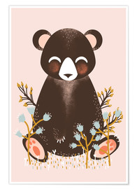 Poster  Animal friends - The bear pink - Kanzi Lue