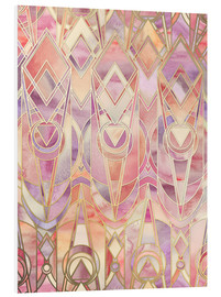 Foam board print  Glowing Coral and Amethyst Art Deco Pattern - Micklyn Le Feuvre