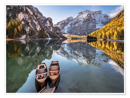 Premium poster Autumn at Lake Braies (Lago di Braies), Dolomites - Italy