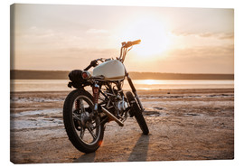 Canvas  Retro motorcycle in the desert