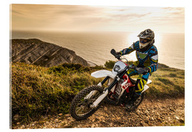 Acrylic print  Enduro rider on a coastal road