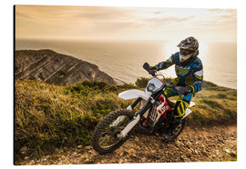 Aluminium print  Enduro rider on a coastal road