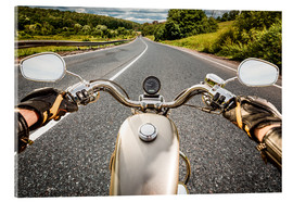Acrylic print  On tour with a vintage motorbike
