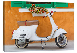 Canvas print  White scooter in front of a window