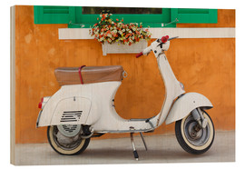 Wood print  White scooter in front of a window