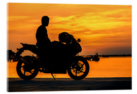 Acrylic print  Biker on his motorcycle
