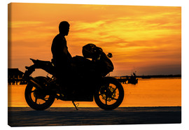 Canvas print  Biker on his motorcycle