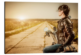 Aluminium print  Biker girl in a brown leather jacket
