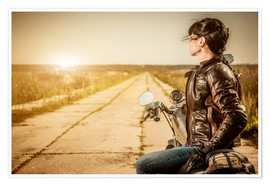 Premium poster  Biker girl in a brown leather jacket