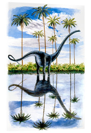 Acrylic print  Alamosaurus under the palm trees
