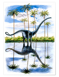 Premium poster  Alamosaurus under the palm trees