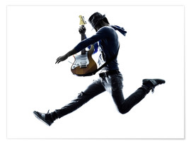 Premium poster  Guitarist jumping in the air
