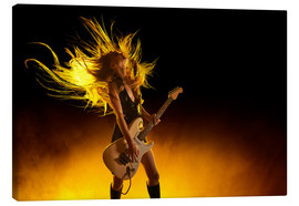 Canvas  Rock girl with an electric guitar