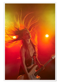 Premium poster  Rock girl playing the electric guitar