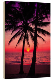 Wood print  Palm trees and tropical sunset