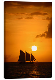 Canvas  Sailing ship and sunset, Key West