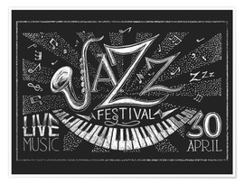 Premium poster  Jazz Festival on blackboard