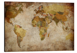 Aluminium print  Vintage World Map
