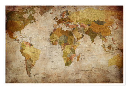 Vintage World Map Posters and Prints | Posterlounge.com