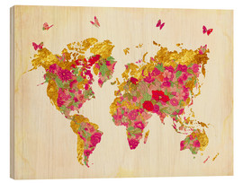 Wood print  Summer World Map - Mandy Reinmuth