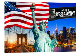 Acrylic print  New York City Photo Collage with Statue of Liberty - Jan Christopher Becke