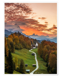 Premium poster Bavarian Sunset - Germany