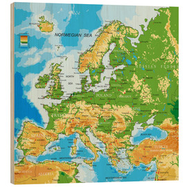 Wood print  Map of Europe