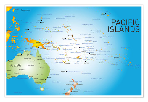 Premium poster Pacific Islands - Map