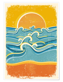 Premium poster  Sea waves and yellow sand beach - Kidz Collection